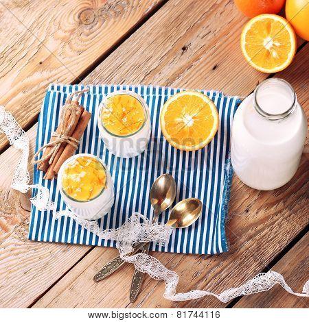 Breakfast Time (homemade Yogurt, Milk And Jam With Orange And Cinnamon)