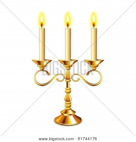 Retro Candlestick With Candles Isolated On White Vector