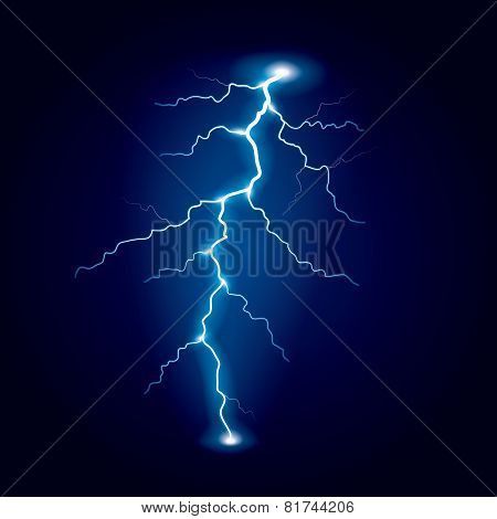 Lightning Isolated On Dark Vector