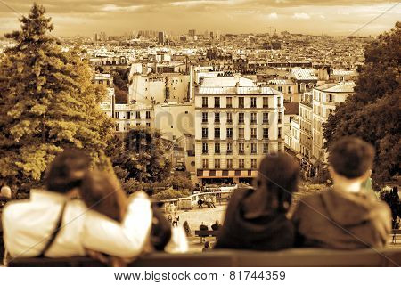 View Of Paris From The Hill Of Montmartre.couples In Love.paris.