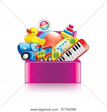 Children Toys Box Isolated On White Vector