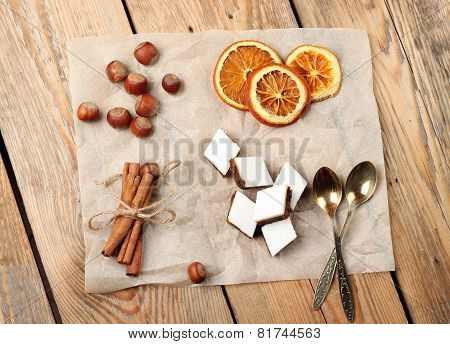 Assortment Of Handmade Cookies And Spices On A Wooden A Table