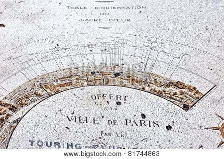 Map  Of Paris From The Hill Of Montmartre.paris.