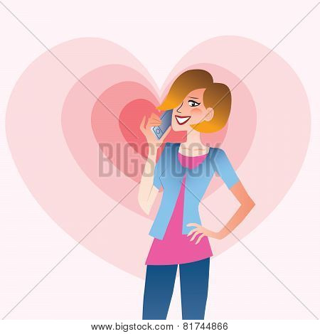 Young Smiling Woman Talking On The Phone Heart