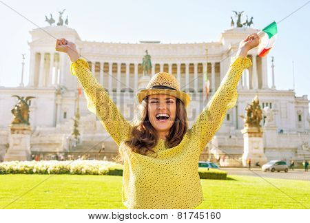Portrait Of Happy Young Woman With Italian Flag Rejoicing On Pia