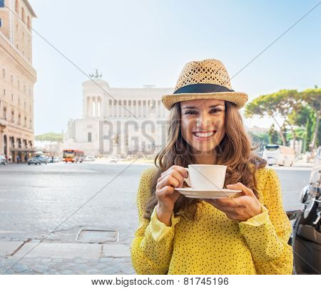 Portrait Of Happy Young Woman With Cup Of Coffee On Piazza Venez