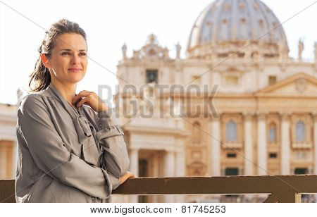 Portrait Of Young Woman In Front Of Basilica Di San Pietro In Va
