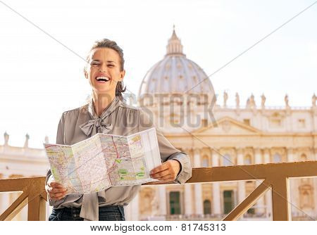 Happy Young Woman In Front Of Basilica Di San Pietro In Vatican