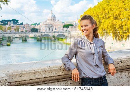 Portrait Of Happy Young Woman On Bridge Ponte Umberto I With Vie