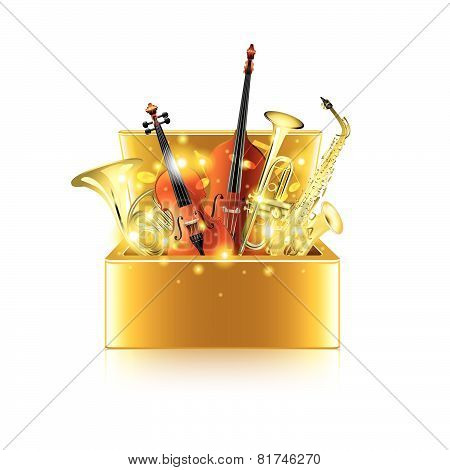 Musical instruments box isolated on white vector