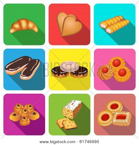 Set Of Icons On A Theme Cake Baking Cookies