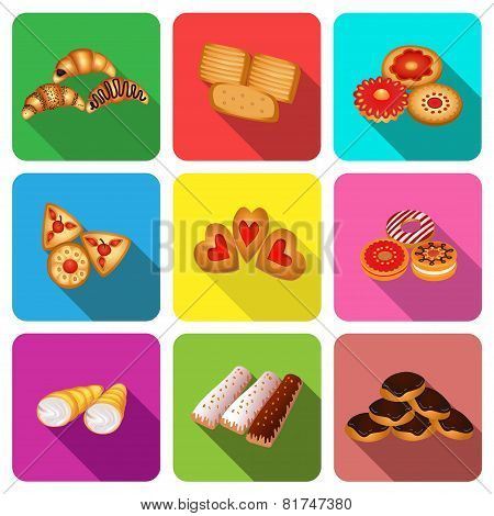 Set Of Icons On A Theme Cookie Cake