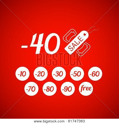 Sale symbol with percent discount, tag and dollar icon