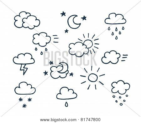 Set of hand-drawn weather icons