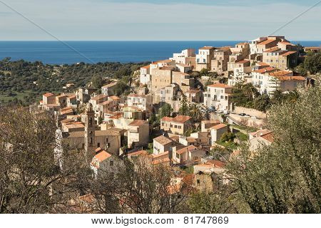 The Village Of Lumio In Balagne Region Of Corsica