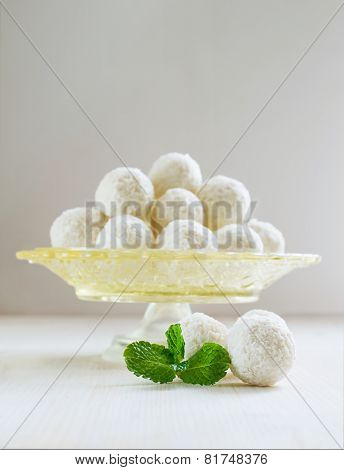 Coconut Candies With Mint