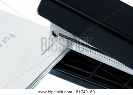 Stapler Attach A Documents. Isolated On A White.