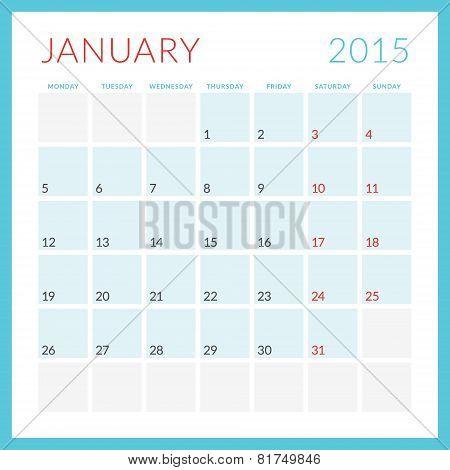 Calendar 2015 Vector Flat Design Template. January. Week Starts Monday