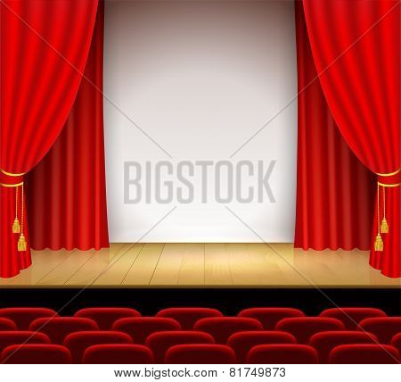 Theatrical Scene With White A Stand And Red Curtain