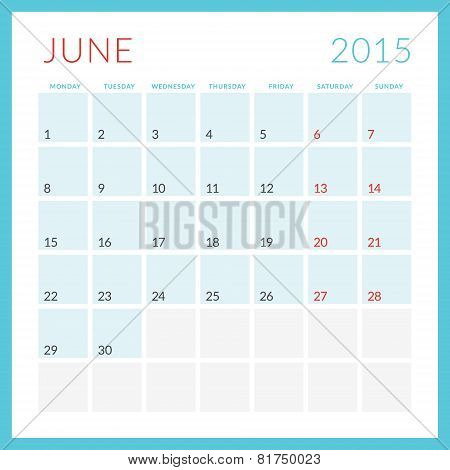 Calendar 2015 Vector Flat Design Template. June. Week Starts Monday