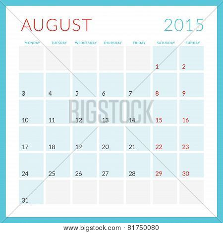 Calendar 2015 Vector Flat Design Template. August. Week Starts Monday