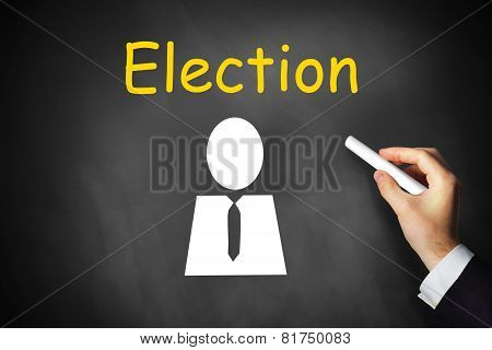 Hand Writing Election On Chalkboard