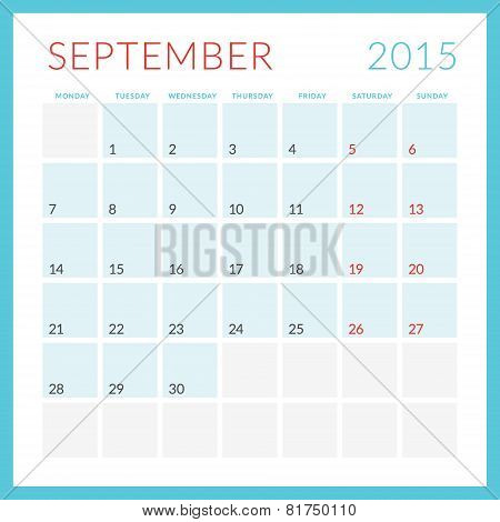 Calendar 2015 Vector Flat Design Template. September. Week Starts Monday