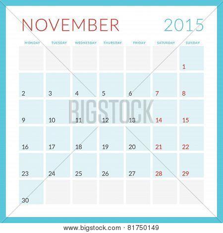 Calendar 2015 Vector Flat Design Template. November. Week Starts Monday