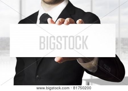 Businessman Holding Sign Empty