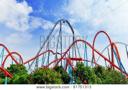 Roller Coaster in funny amusement  park.