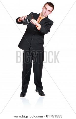 Cheerful Businessman Show Empty Wallet . Isolated