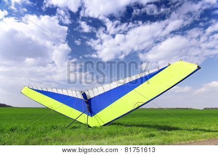 Motorized Hang Glider Over Green Grass