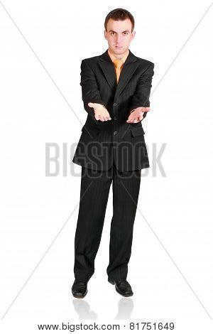 Cheerful Businessman Show Empty Hands. Isolated