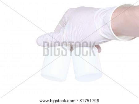 Hand Hold A Blank Medical Bottle. Isolated