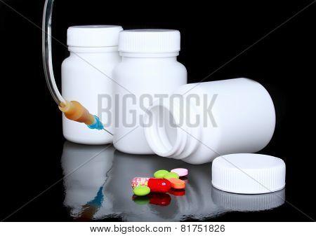 White Medicine Bottle, Infusionon Black.