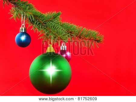 Christmas Decoration-colour Balls, Fir Branches..