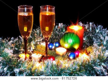 New Year Decoration- Balls, Tinsel, Candels.
