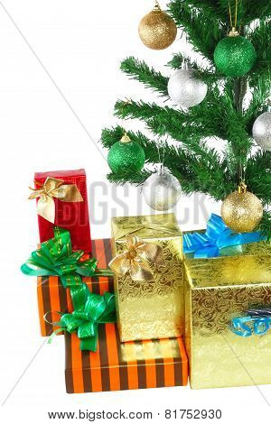 Fragment Of New Year Tree With Gift Boxes