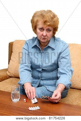 Senior Lady Woman With Medication Pills.