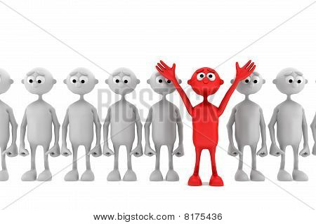 one red man stand out from the crowd. leader concept
