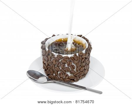 Splashes Of Poured In Milk In A Cup With Coffee.