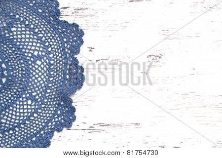 Crochet Doily Border Over Shabby Chic Wood
