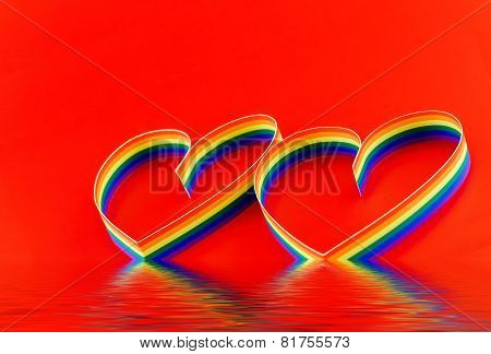 Single Hearts, Paint Of A Six-colour Gay Flag.