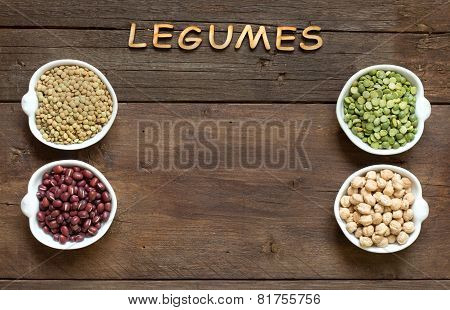 Variety Or Legumes And The Word Of Legumes On Wood