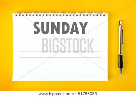 Sunday Calendar Schedule Blank Page