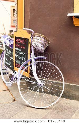Elegant Glamour Purple Retro Bicycle - Menu. Outdoors.