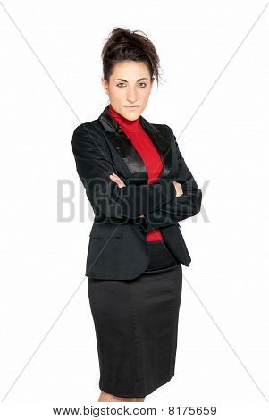 Businesswoman Looking Serious Isolated On White Background