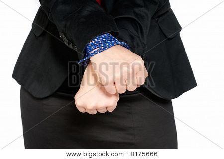 Businesswoman Hands Tied, Job Slave Concept, Isolated On White Background