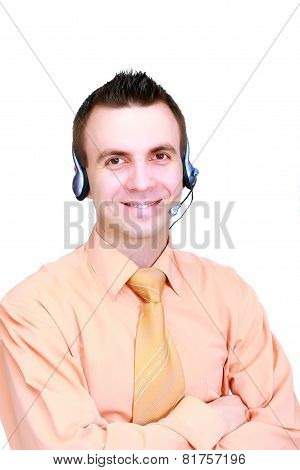 Man- Operator Call-centre On White Background.