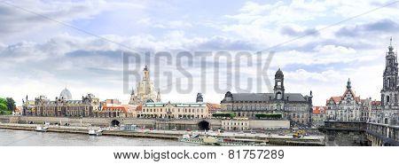 Dresden Panorama From Elbe Bridge.